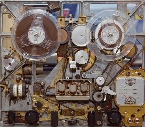 The guts of a 1965 Ampex reel to reel tape recorder.
